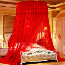 Red Princess Mosquito Net Hanging Dome Bed Canopy King Size Circular Curtain