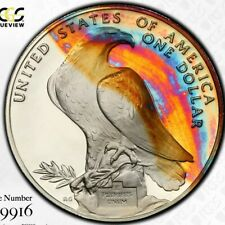 Rainbow Toned PCGS PR68 DCAM 1984 S Olympic Commemorative Silver Dollar Trueview