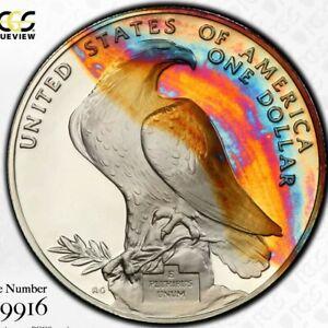 Rainbow Toned PCGS PR68 DCAM 1984 S Olympic Commemorative Silver Dollar Trueview