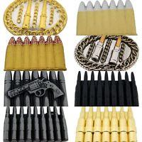 Bullets Belt Buckle Halloween Costume Gift Metal Antiqued Silver Fashion Unisex