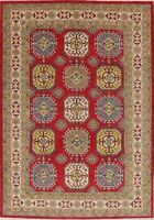 All-Over Super Kazak Geometric Hand-Knotted Area Rug Oriental Wool Carpet 7x10