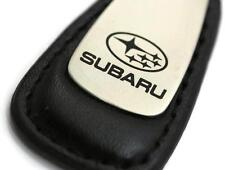 Subaru Leather Key Chain Black Tear Drop Key Ring Fob Lanyard WRX Sti