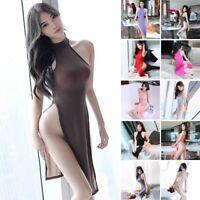 Women's Nightwear Transparent High Split Sexy Lingerie Dress Cheongsam Clubwear
