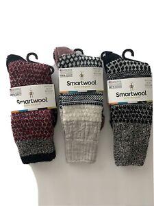 Smartwool Women's Merino Crew Socks Popcorn Cable M Medium Cushion Red Black Ash
