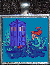 Disney Little Mermaid Doctor Who Tardis Time Lord Police Box Pendant Necklace
