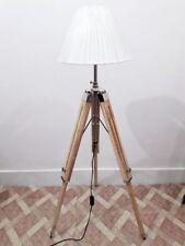 Antique designer nautical teak wood tripod floor lighting lamp use with shade