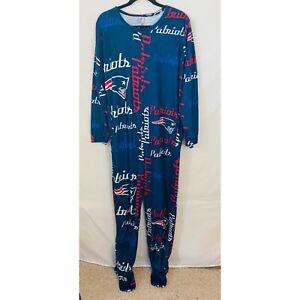 NWOT NFL New England Patriots Men Pajama Suit Size Large Footies Long Sleeves