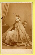 CDV - Lady  wearing Crinoline Dress, Shawl & Bonnet - Mr C. Combes - Brighton