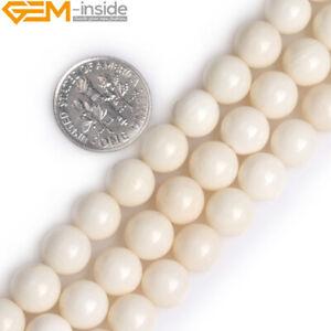 "Cream White Coral Beads Round Natural Gemstone Beads For Jewelry Making 15"""