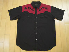 High Noon! 90s vtg Black maroon Western short sleeve Mens Shirt cowboy Large
