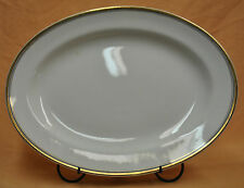 "Stonewear Serving Platter Johnson Bros England 9-1/2""X12-1/2"" White Gold Rim Pin"