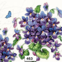 (463) TWO Individual Paper Luncheon Decoupage Napkins - VIOLAS, VIOLETS, FLOWERS