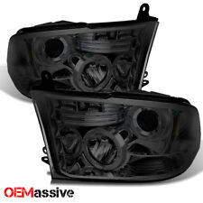 Fits 09-14 Dodge Ram 1500/2500/3500 Smoked Dual Halo LED Projector Headlights