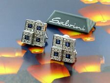 Salvini 18 kt White Gold Earrings Diamonds/Sapphires New!! MSRP $9,295