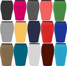 Mujer Tallas Grandes Jersey Ajustado Vestido Medio De Tubo Informal Faldas 16-26