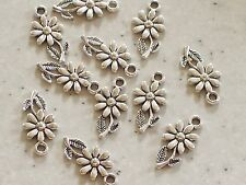 10 x Pretty Dainty Daisy Flower Antique Silver Tone Charms 19x10mm FREE P&P