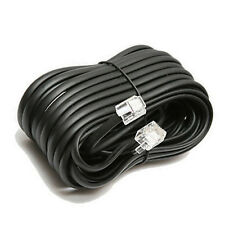 100' ft Telephone Extension Cord Black Phone Cable Wire Line With Connectors