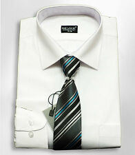Men's Boys Formal Shirts With Tie Page Boy Wedding Smart Shirt White 13-14 Years