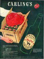 1947 Carlings PRINT AD Red Cap Ale Vintage Bottle