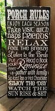 Shabby Primitive Porch Rules Family Subway Word Art Typography Sign Decoration