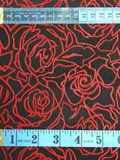 Chinese brocade fabric material black red rose upholstery meter for sale