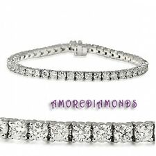 5 ct F I1 round ideal cut diamond 4 prong tennis bracelet 14k white gold 7""