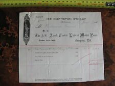 138 Swanston St Melbourne A N Alcock Electric Light & Motive Power  1898 INVOICE