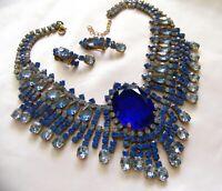 Stunning Czech Sapphire Blue Rhinestone Glass Necklace & Earring Statement Set