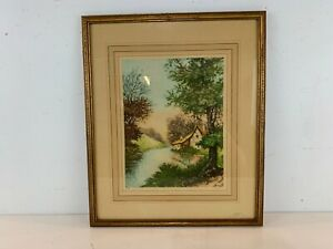 "Vintage ""The Naire River at Premery France"" Paris Etching Society Framed Etching"