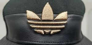 Men's ADIDAS Black Leather Baseball Cap Hat Gold Embroidered Logo One Size Fit