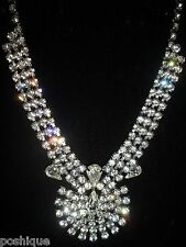 Rhinestone Crystal Encrusted Statement Necklace Vintage Antique Choker Wedding