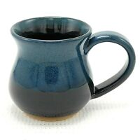 Coffee Mug Cup Studio Art Pottery Green Teal Black Drip Glaze Ceramic 12 oz