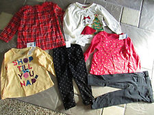 NEW LOT 6 BABY GIRL CLOTHING CARTERS+ LONG SLEEVE TOPS SHIRTS PANTS+ 24M FREE SH