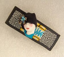 LADY HEAD FACE collage Porcelain-Look Resin Brooch Pin Figural Flapper Handmade