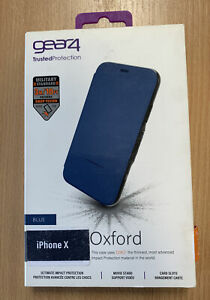 Gear4 Oxford D30 Shockproof Tough Flip Case Cover for Apple iPhone X / XS - Blue