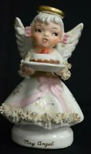 May Birthday Angel Figurine Japan with Birthday Cakes Halo Lefton