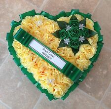 SILK FUNERAL FLOWERS HEART WREATH MEMORIAL GRAVE GREEN YELLOW ORANGE IRISH
