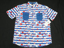 $52 NWT Mens Enyce Sean Combs Stars & Stripes Button Down Shirt 3XL 3X 3XB M989