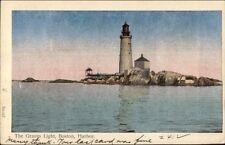 Boston MA Graves Lighthouses Silvery/Shiny Finish Reichner Bros Postcard c1910