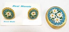 RARE BEAUTIFUL MADE IN ITALY HAND MADE MICROMOSAIC FLOWER PIN & CLIPON EARRINGS