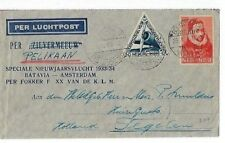 1933 Bandoeng Netherland Indies Airmail KLM FFC to Amsterdam 12 1/2c, 30c Stamps
