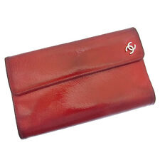 Chanel Wallet Purse Trifold COCO Red Woman Authentic Used Y003