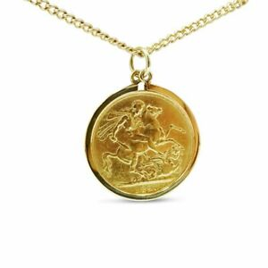 Pre-owned 22ct Gold Full Sovereign Coin Pendant Chain 1890