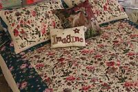 New! Country Cottage 3 Piece Bedspread Set Cream Teal Floral Ditsy All Sizes