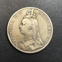 1890 GREAT BRITAIN SILVER CROWN QUEEN VICTORIA COLLECTOR COIN.
