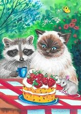 Aceo Print Of Painting Ryta Ragdoll Cat Garden Raccoon Mouse Strawberry Cake Art