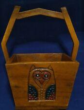 Hand carved solid wood vintage trug basket