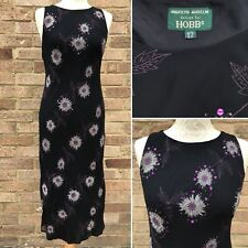 VINTAGE MARILYN Anselm Hobbs Silk Dress UK 12 Nero Chiffon Gatsby Festa Crociera