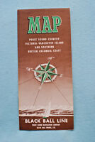 Map - Puget Sound - Victoria - Vancouver - Ferry - Black Ball - 1956