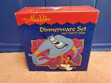 Walt Disney Aladdin Dinnerware Set Cup, Bowl & Plate Vintage Set Nib